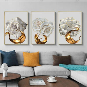 White Rose Flower With Gold Abstract Poster Nordic Canvas Painting Home Decor