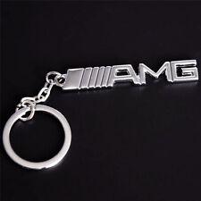 Chrome AMG Letters Car Key Ring Key Chain for Mercedes Benz A B C E S G R Series