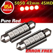 2 PCS Red 42MM 5050 4SMD Canbus Error Free LED Festoon Dome Light Bulb 578 212-2