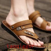 Men's Summer Slipper Sandals PU Leather Casual Solid Beach Flip Flops Shoes Hot
