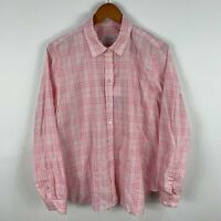 Trenery Button Up Shirt Womens XL Extra Large Pink Plaid Long Sleeve Collared