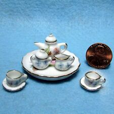 Dollhouse Miniature Tea Pot Set  Floral Pattern ~ 10 Pcs  P453