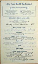 New World Restaurant 1920s Menu - Breakfast A La Carte