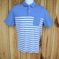 Vineyard Vines Polo Shirt Mens Sz M Blue White Striped 100% Cotton Short Sleeve