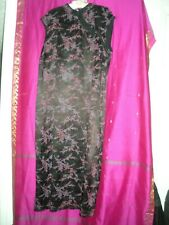 New listing Vintage, Long Asian Style Black Dress W/ Cherry Blossoms, Sz. L/Xl, Preowned,