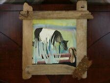 SW Rodstrom Sally Mitchell Tide Line Watercolor Collage Driftwood Art Signed