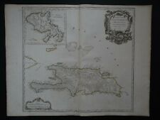 1790 Vaugondy Atlas Universel map Hispaniola - Isles Saint Domingue - Martinique