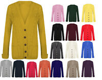 Women Cable Warm Chunky Button Front Knitted Grandad Cardigan UK Size 8-26