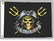 "Dead Men Tell No Tales Tridents Boat Flag 12X18"" NEW Pirates Jolly Roger"