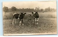 Strykersville NY 1910 Vintage Photo Postcard Farm Boy with Cows Calves Field B83