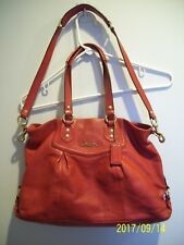 Coach ASHLEY Red Leather Handbag Purse Cross body Shoulder Strap RARE