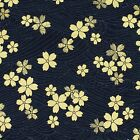 Navy Gold Embossed Sakura Japanese Oriental Fabric Cotton Fat Quarter FQ #F0022