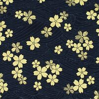 Navy Gold Embossed Sakura Japanese Oriental Fabric Cotton Fat Quarter FQ #F0022