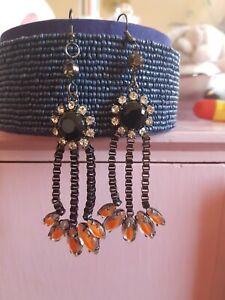 Stunning bright orange/Diamond  Statement long Earrings by Topshop