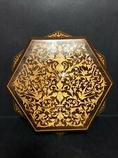 Unique Hexagon Geometric Gold Inlaid Wood Jewelry Box W Mirror Italy Floral Bird