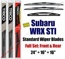 Wiper Blades 3-Pack Front Rear Standard - fit 2013 Subaru WRX STI 30240/160/16B