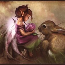 """Clover"" Tiny Fairy Feeds Clover Blossom To Baby Rabbit,Blank Greeting, Art Card"