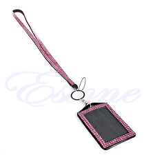 Rhinestone Business ID Badge Lanyard Name Tag Key Card Holder Belt Clip Necklace