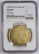 Colombia 1790 P SF 8 Escudos Gold Coin NGC Graded KM# 53.2 Charles III Scarce