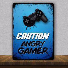 Attenzione Angry Giocatore Playstation PS4 Metallo Porta Camera Da Letto Muro Firmare/Placca di dimensione A5