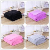 150*200 Micro Coral Plain Fleece Blanket Soft Luxury Warm Home Sofa Bed Throw