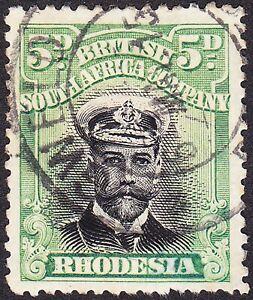 Rhodesia 1913 5d Pos22 VAR SLOPING LINE ON KING'S LAPEL SG212(V)&VERY SCARCE CDS
