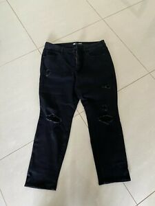 Old Navy Black Distressed Jeans Size US 18 Petite (AU 20 Petite) EXCELLENT COND