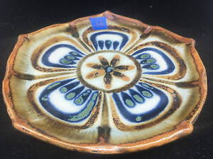 Dinner Plate El Palomar Ken Edwards Mexican Pottery Lotus #H Blue Green Brown