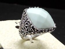 Fossil Flower Etched Vintage Silvertone Green Set Stone Ring Size 8 New! NWT