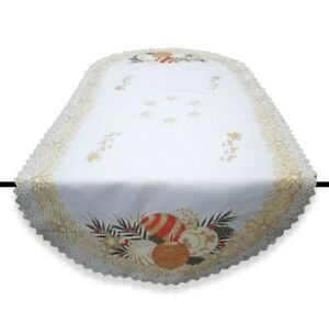 """Christmas oval white tablecloth / table runner NEW 50 x 100 cm (20""""x39"""") bauble"""