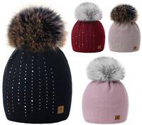 Women Winter Beanie Hat Knitted Worm Fleece Large Pom Pom Ladies Crystals Ski