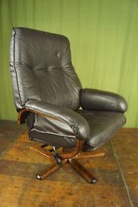 60er Vintage Armchair Swivel Chair Leather Relax Easy Lounge Westnofa Rykken Age