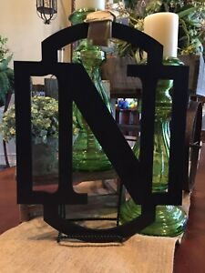 """NEW BLACK MONOGRAM INITIAL """"N"""" DOOR HANGER/WEDDING/ SHOWER 18 INCHES"""