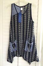 Aster by Firmiana Open Knit Bohemian Blue Sleeveless Top Plus Size 1X