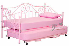 Joseph Metal Day Bed with Trundle and Mattress Pink Girls Guest Bed Frame