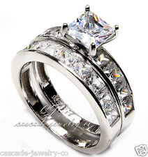 Princess Cut SOLID Sterling Silver Engagement Ring  Wedding Band Ring SET CZ