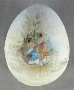 ES Prussia / Heubach Neoclassical Ladies Tapestry Egg Trinket Box C. 1890-1920
