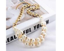 Glitz Fashion Statement Bib Choker Faux Pearl Necklace-Wedding Jewelry for Women