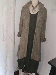Lagenlook Kekoo Ballonkleid und Mantel grün Gr. 42-44 oder größer