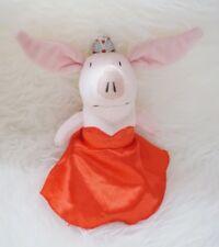 "2010 Spin Master Olivia Pig Princess Plush Red Satin Gown Dress Crown 10"""