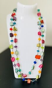 Mother of Pearl Multi Coloured Long Beaded Necklace Tutti Frutti Rainbow