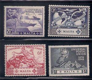 Malta     1949   Sc # 108-11   UPU   MLH   (2040)