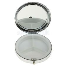 7cm Stylish Compact Round Metal Pill Case Mirrored Box Organizer