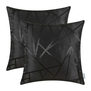 2Pcs Black Cushion Covers Pillows Shells Triangles Geometric Home Decor 50x50cm