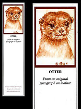 Otter Laminated Bookmark - Print from Original Pyrography Animal Art