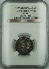 (1638-42)England Aberystwyth Silver Groat 4P Coin S-2556 Charles I NGC XF-40 AKR