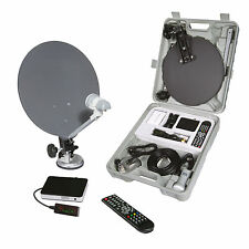 CARAVAN AND CAMPING SATELLITE TV SYSTEM PORTABLE SATELLITE DISH AND RECEIVER KIT