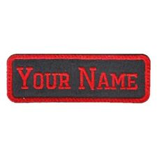 Rectangular 1 Line Custom Embroidered Biker SEW ON  Name Tag PATCH (BR1)