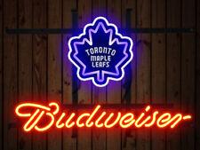 Neon Signs Toronto Maple Leafs Budweiser Beer Bar Pub Party Homeroom Decor 19x15