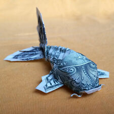 Origami KOI FISH Money Pisces Japanese Charm Pond Real $1 Dollar Bill Home Decor